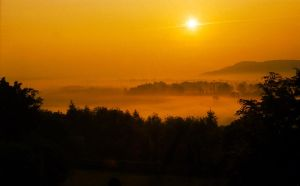 Misty Sunrise in Ross on Wye by alfieuk