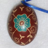 Blue Flower on Brown Egg Front by indystdnt