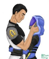 Tali and Shepard by LilChimp