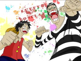 Luffy and Bon Clay-Mr.2 by tuia007