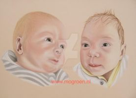 Drawing of two baby's by mo62