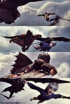 Adult Hiccup and Jack Flying! by jellybreaker