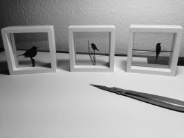 Bird Silhouette Miniature Frames by nero-on-fire