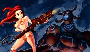 BikiniGirl VS Demon by Padder
