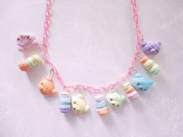 Pastel Rainbow Macaron-Bear Parade - Necklace by societyisfucked