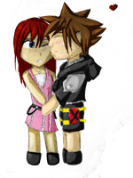 Kairi and Sora chibi by LoonyMarry