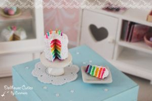 Miniature rainbow cake by Glowpr