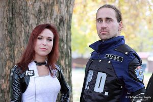Miranda and a police from Racoon by V-kony