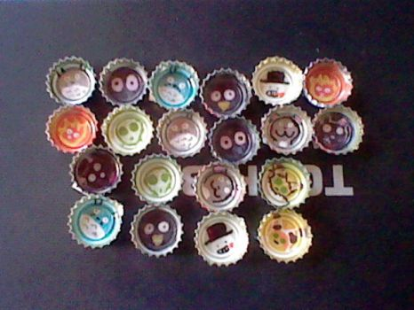 Studio ghibli bottle cap fridge magnets by chaobreeder16