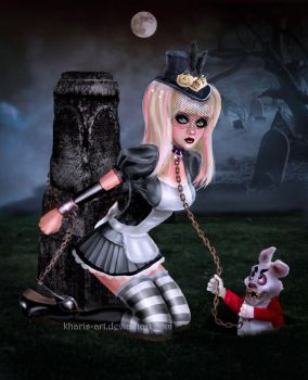 Gothic Alice and the Bad Rabbit by kharis-art