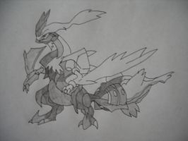 White Kyurem (Shaded) by SapphireRose-chan