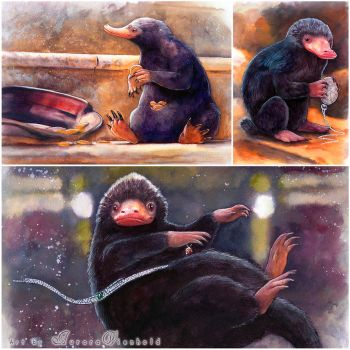 Shiny things - My Niffler watercolors by AuroraWienhold