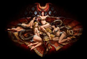 Castlevania Mirror of Fate. Succubus Harem. by javieralcalde
