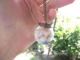 Necklace with mermaid in globe by elvira-creations