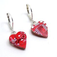 Circuit Board Earrings Red Hearts by Techcycle