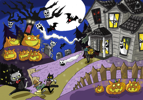 Detective cats of a haunted house by heivais
