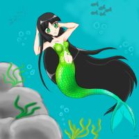 Art Trade: Green as Mermaid by voicelesss