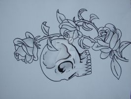 skull and roses tattoo by cookiebutterworth26