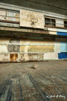 Abandoned High School - Basketball Court With Ball by cjheery