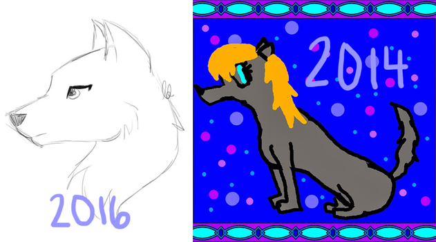 Wolf Comparison // 2016 vs. 2014... or 2013... ish by LuminescentDemon
