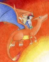 Riding Charizard by MiyaYoshi