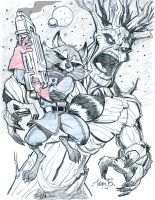 Rocket Raccoon and Groot by tombancroft