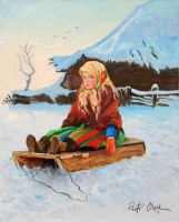 a little girl on the sledge by Dreamnr9