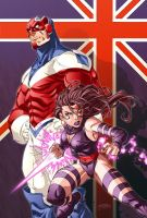 Captain britain and Psylocke by diablo2003