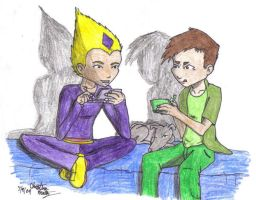 Odd and Ulrich playing DS by WhiteBlueWerecat