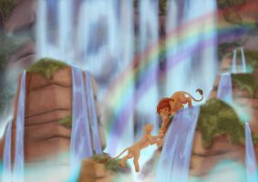 Simba and Nala with waterfalls by jessijoke