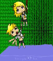 Rin and Len.Recycle Bin by meowismygamee