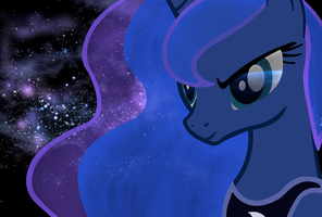 Starry Luna Background with Earth Reflection by Spyro0and0Cynder