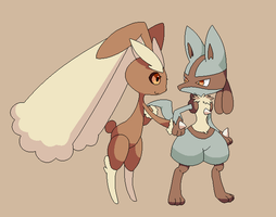 Lopunny and lucario base by michy123