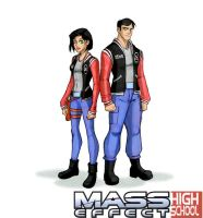 Mass Effect High School 'The Shepard Twins by JasmineAlexandra