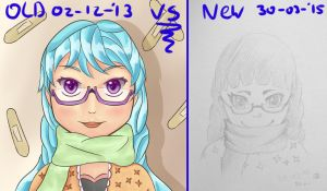 OLD VS NEW drawing OC Sweet Eriko by bastiaandegoede