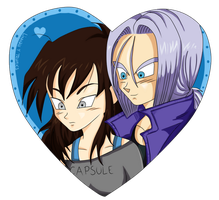 Heart couple: Linnah and Trunks by kurith