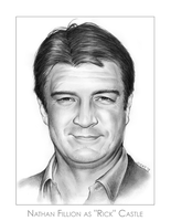 Nathan Fillion as Rick Castle  Pencil Portrait Art by gregchapin