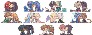 Kissing Icons Comission Batch 4 by Tuliblu