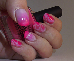 Shocking Pink 'Water Marble Kisses' by Ithfifi