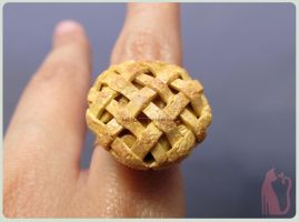 Polymer Clay Miniature Apple Pie Ring by Talty