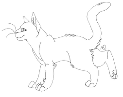 standing cat lineart by meeshapom
