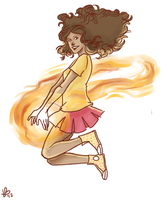 Fire cheerleader by LilyScribbles
