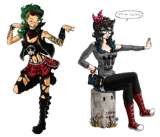 Punk Flygon and Hipster Hydreigon by saurodinus