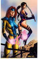 Jean and Psylocke by DrewGardner