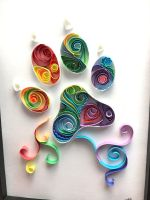 Rainbow Paw Print Quilling  by Toriroz