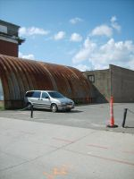 Parked Van, Rusting Quonset by FhynixPhotos