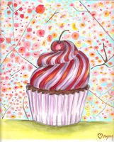 Watercolor Cupcake and flowers by Mymy-La-Patate