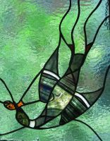 Stained Glass Diving Loon 1 by trilobiteglassworks
