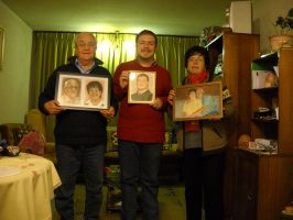 My parents, me and portraits by ArielRGH