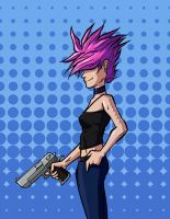 PINK HAIRED FEMALE WITH FIREARM by ReallyAngry